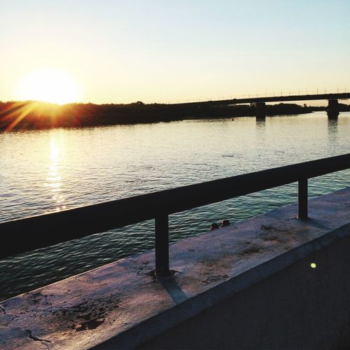 Sunset Water River Embankments Sky Sun