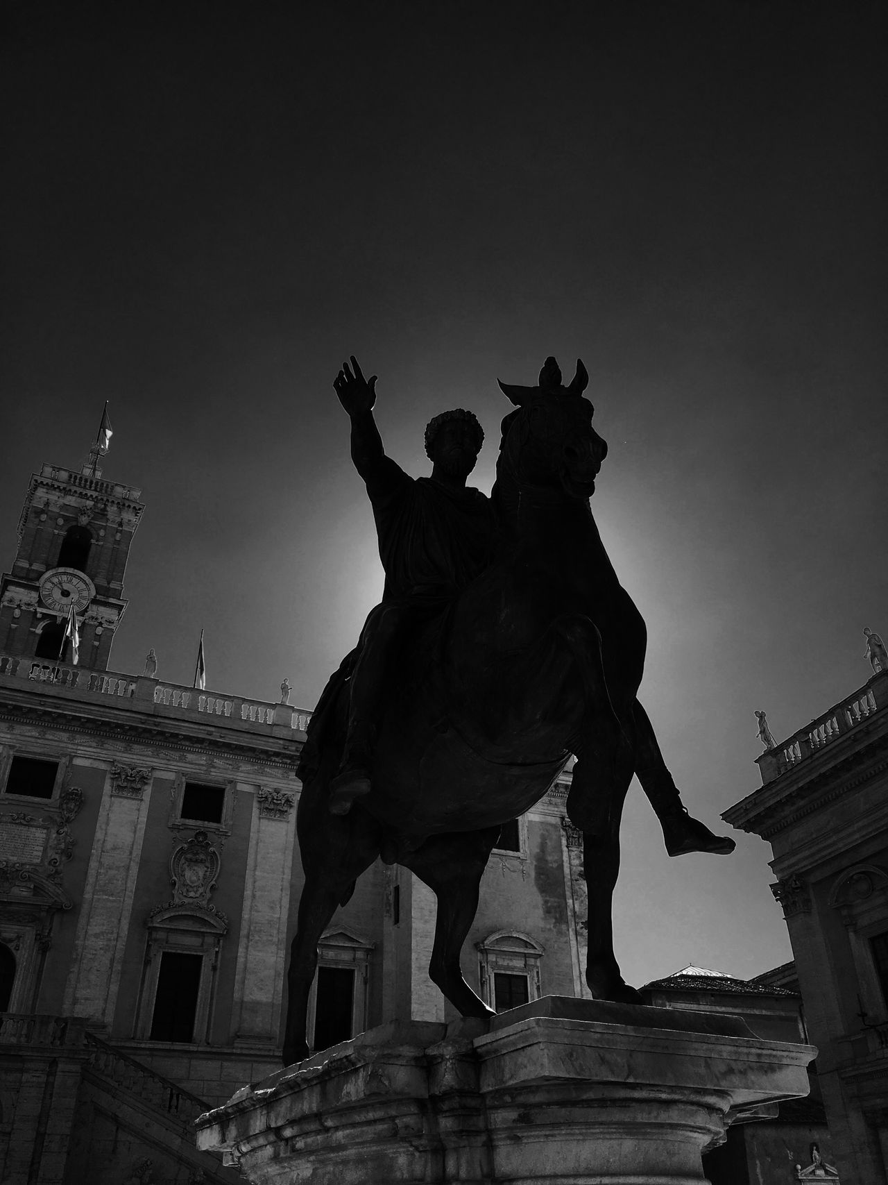 Statue Low Angle View Sculpture Architecture Built Structure Horse Human Representation Building Exterior Sky History Outdoors Travel Destinations No People Day City Rome Italy The Architect - 2017 EyeEm Awards