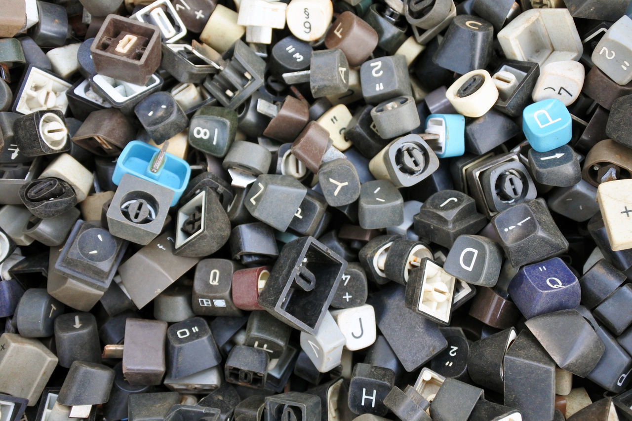 Abundance C Close-up Day Fleamarket Full Frame Keyboard Large Group Of Objects Lock Metal No People Outdoors Text Typewriter Typo Typography