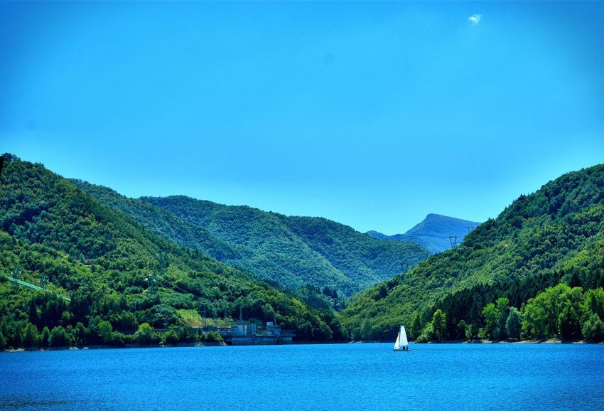 Lago di suviana Mountain Tranquil Scene Scenics Water Tranquility Mountain Range Blue Lake Clear Sky Waterfront Non-urban Scene Nature Idyllic Calm Countryside Solitude Remote Majestic Green