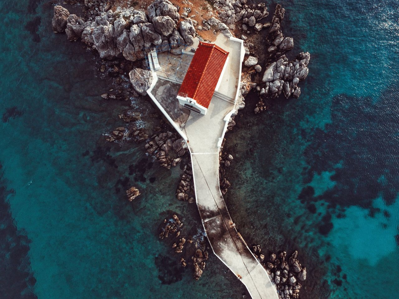 High Angle View Of House In Sea