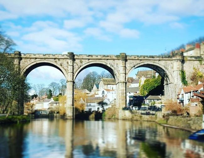 Views down the river looking at the train viaduct. River Bridge Viaduct Sky Clouds Reflection Knaresborough Nidd