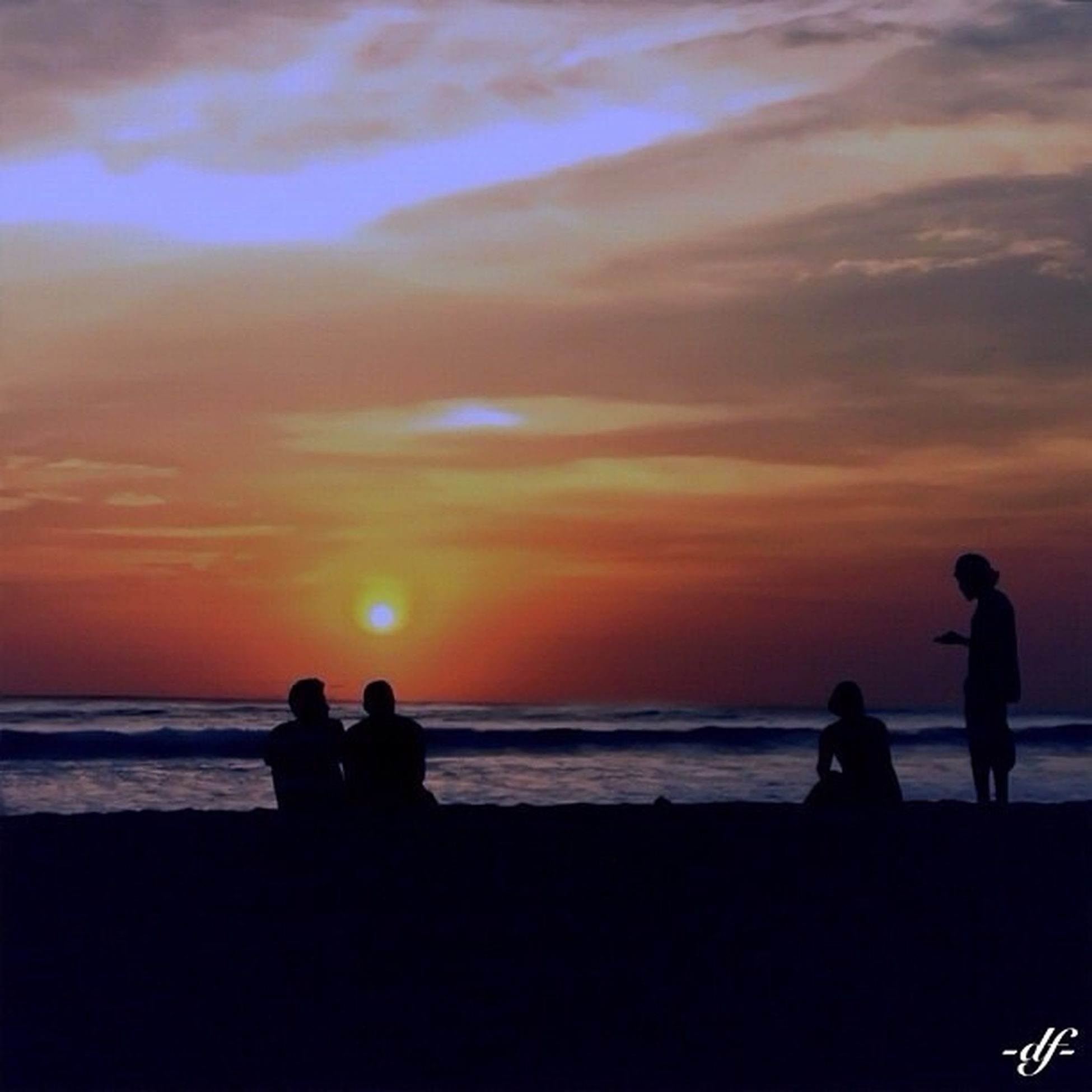 sunset, water, silhouette, sea, horizon over water, togetherness, lifestyles, leisure activity, beach, sky, men, beauty in nature, scenics, orange color, bonding, shore, love, tranquil scene
