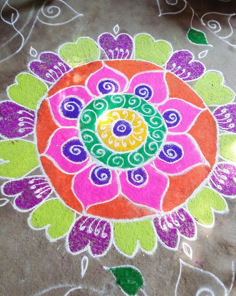 Festival around the cornor Sankranthi Colorful Colorful Rangoli. Hyderabad,India