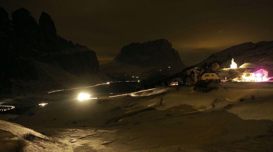 Passo Gardena at night Cloud - Sky Dolomites, Italy Illuminated Landscape Langkofel Lighttrails Long Exposure Mountain Mountain Range Nightphotography Passo Gardena Travel Destinations Winter Wonderland