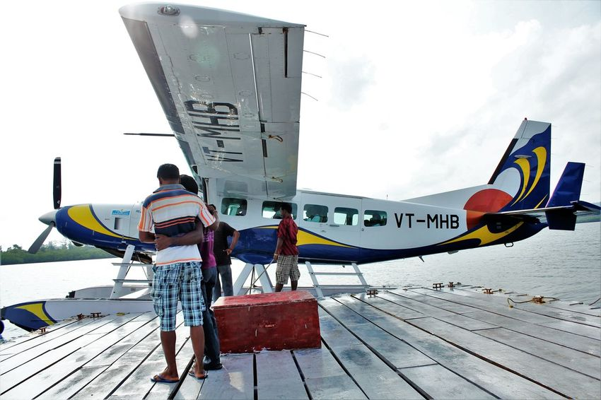 Flying in a sea plane was an original experience in the Andaman Sea Island Landing In Sea Original Experiences Sea Plane Sky Traveling Vacation Wooden Platform