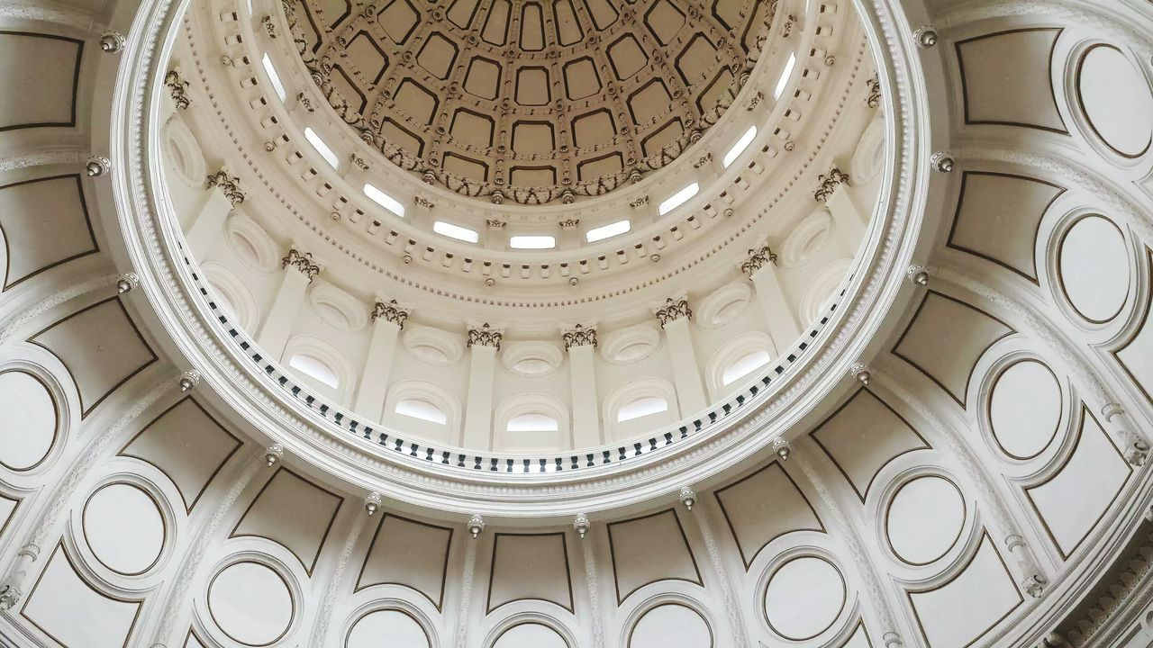 architecture, dome, built structure, architectural feature, ornate, indoors, low angle view, no people, cupola, architectural design, courtroom, day