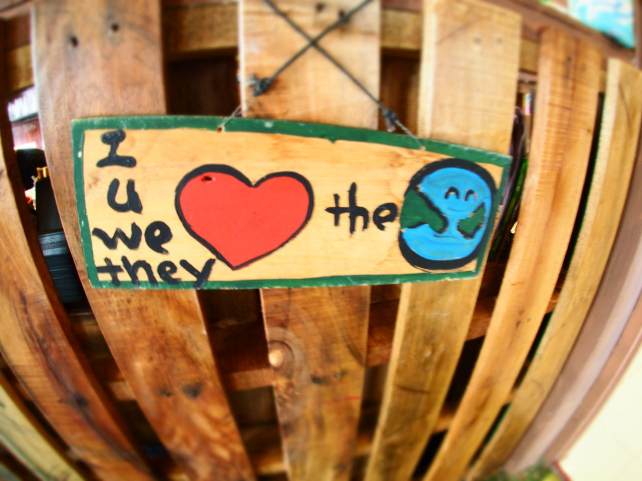 Earth Fish-eye Lens Indoors  Information Love Earth Love The Earth No People Old Text Wall Wall - Building Feature Wood Wood - Material Wooden