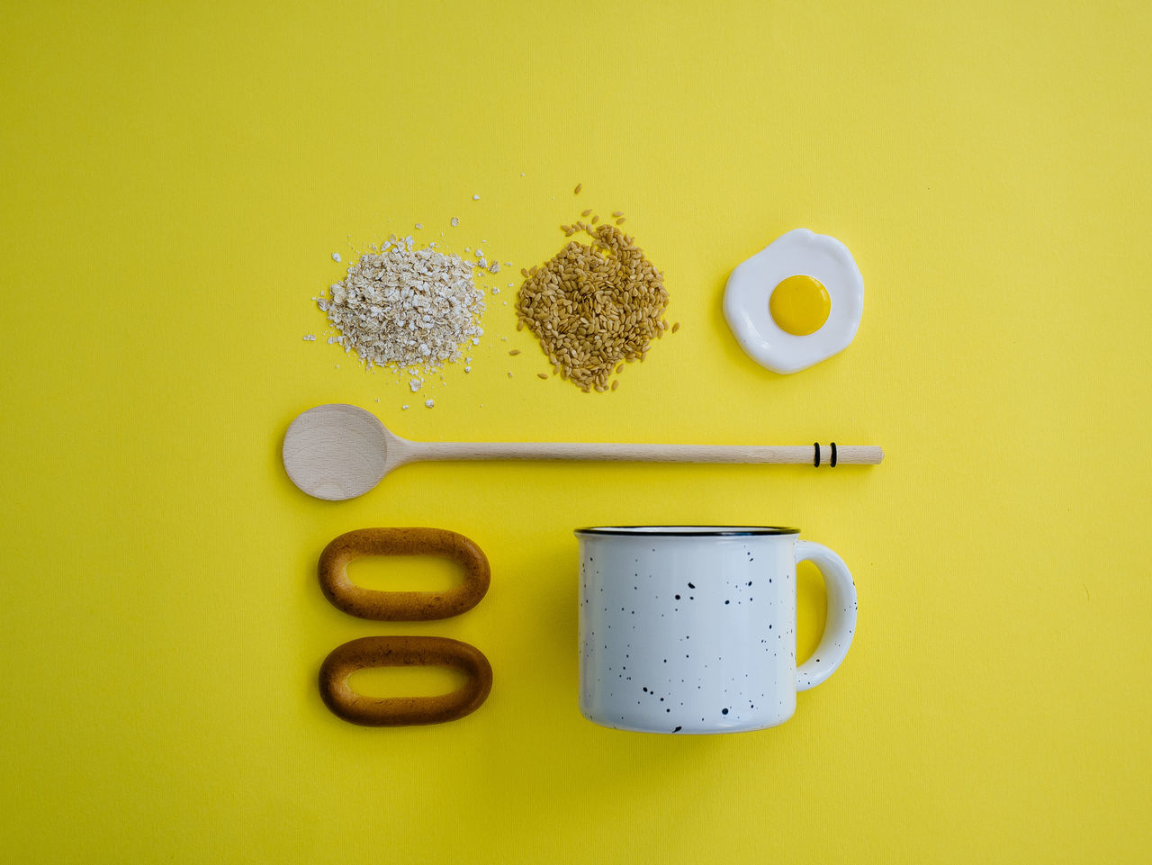 Bagel Breakfast Close-up Cooking Breakfast Cooking Ingredient Cooking Time Deceptively Simple Flax Seeds Flaxseed Food Food And Drink Food Photography Food Styling Freshness Healthy Eating Indoors  No People Oatmeal Omlette Table Yellow Yellow Background Visual Feast