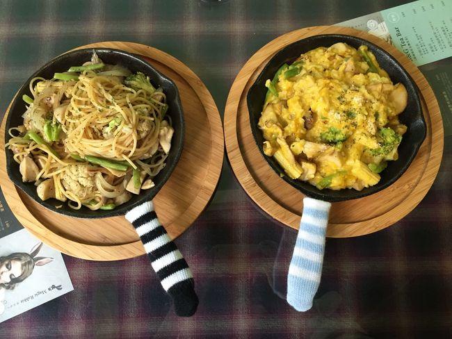 Lunch 午餐 南瓜時蔬燉飯 蒜味亁炒辣椒時蔬義大利麵 Cute