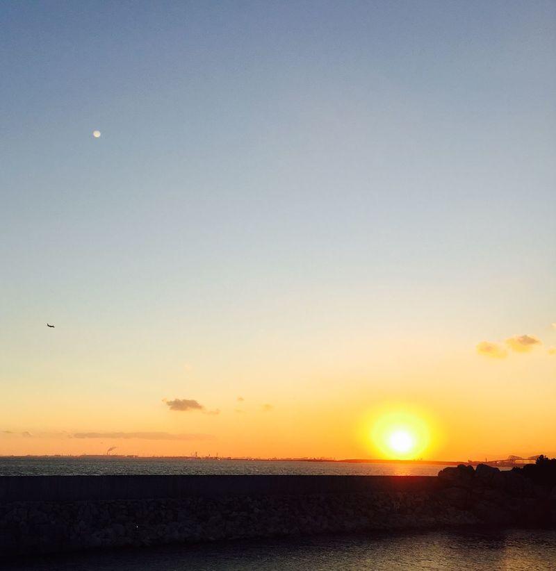 Sunset Sun And Moon Horizon Over Water Sea Sea And Sky