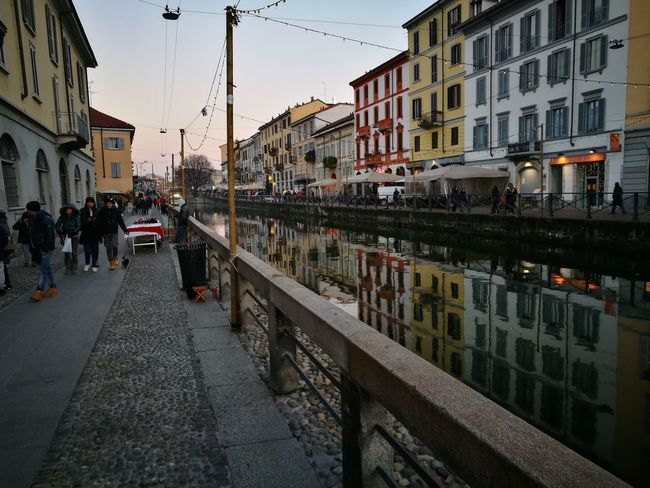 Milano Naviglio Grande Water Landscape Christmas Ornament People Colurs And Shapes Beauty