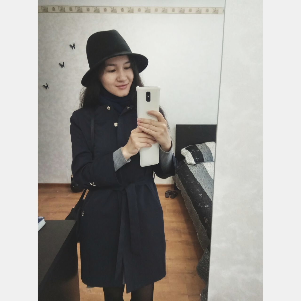 One Person One Woman Only Standing Indoors  One Young Woman Only Mirrorview Mirror Reflection Holding Camera Hat Wearing Hat
