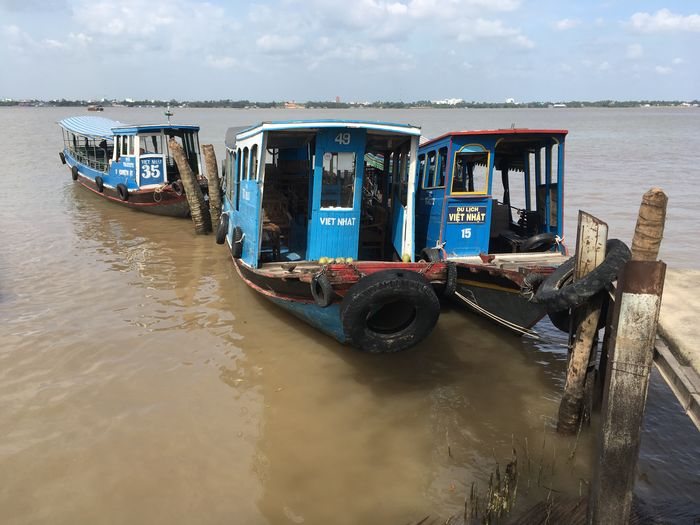 Our Mekong river boat Transportation Nautical Vessel Mode Of Transport Water Boat Sky Sea Outdoors Horizon Over Water