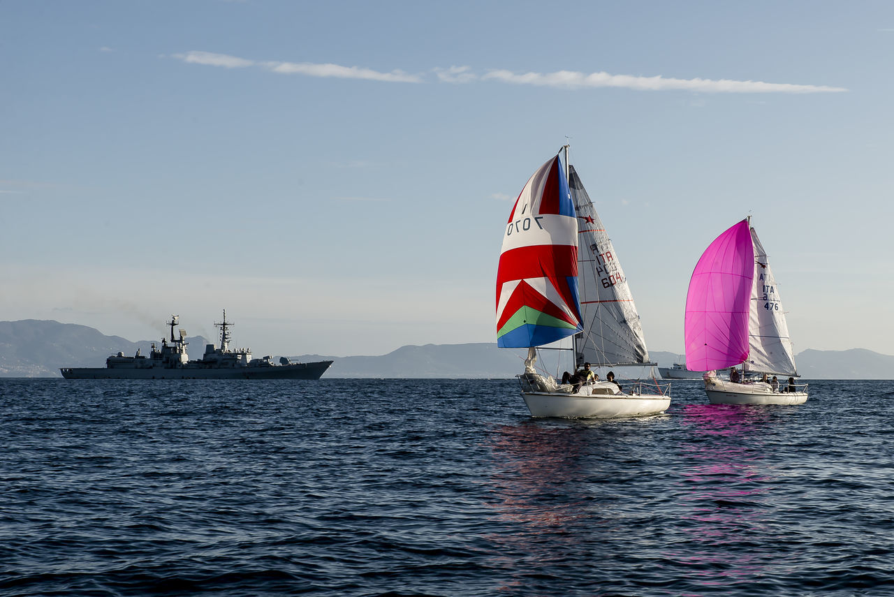 Campionato Meteor del Golfo di Napoli - Trofeo Lega Navale Bay Colors Competition Day Daylight Flag Match Military Nautical Vessel No People Outdoors Red Sailboat Sailing Sea Sea And Sky Sky Transportation Water Wind Regatta Places Nature Photography Panoramic Photography Seascape