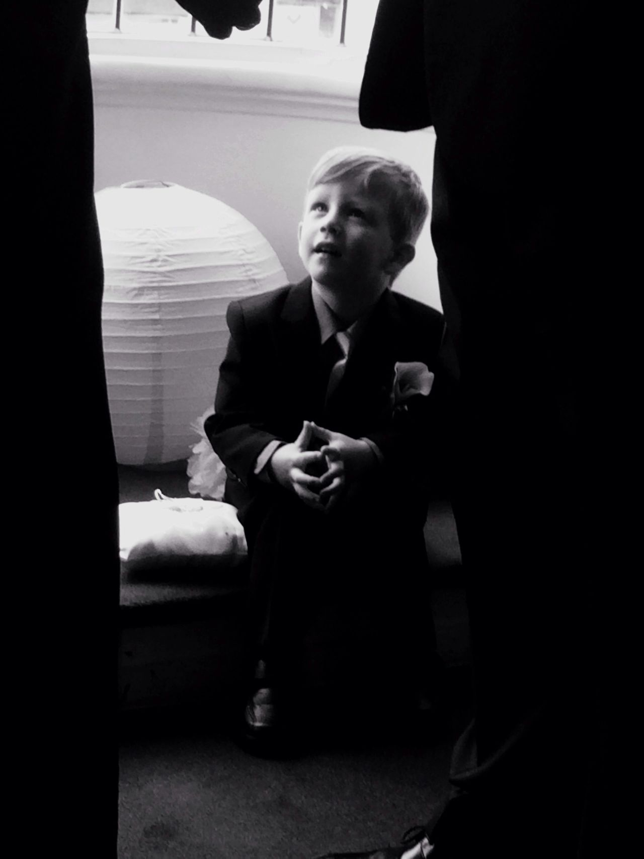 B&W Portrait my nephew watching proudly as his parents get married