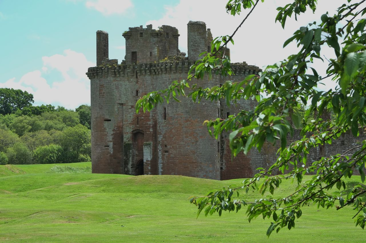 architecture, history, built structure, building exterior, green color, the past, castle, day, ancient, outdoors, grass, growth, tree, old ruin, no people, travel destinations, sky, nature