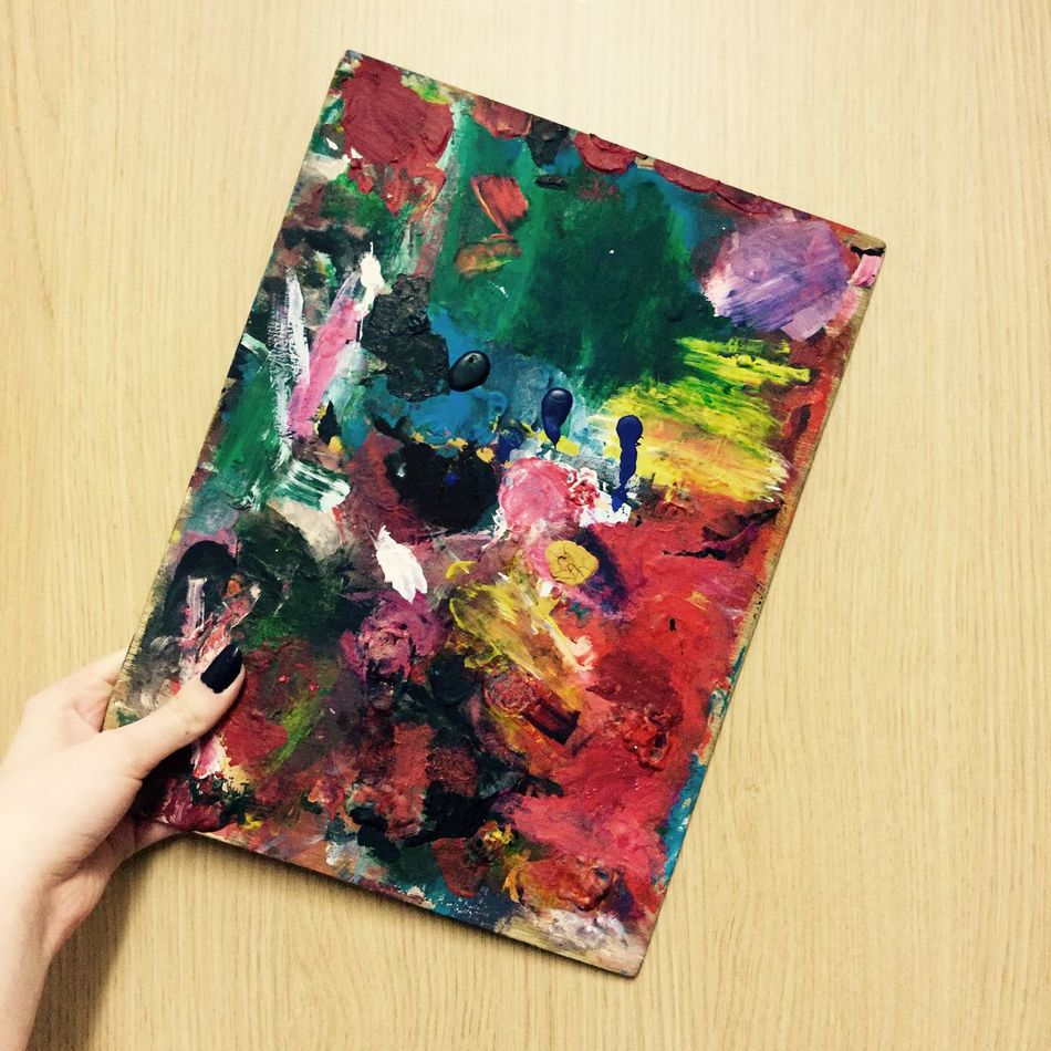 Wooden pallete with 2 years worth of built up paint 2 Years Ago A Acrylic Acrylic Painting ArtWork Close-up Green Color Holding Human Hand Multi Colored Oil Paint Paint Palette People S Wood - Material