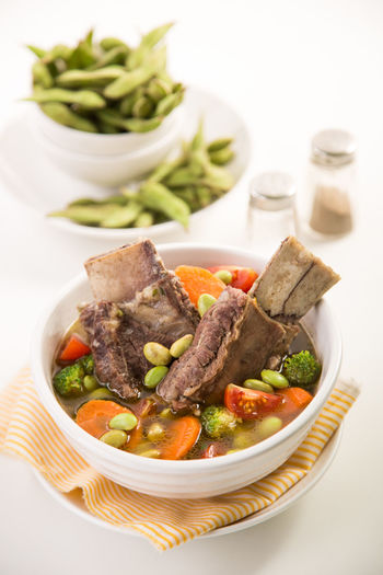 Beef Rib Soup with Edamame Asian Food Beef Chef Culinary Delicious Dinner Edamame Food Food And Drink Food Photography Foodie Foodism Freshness Healthy Food Healthy Lifestyle Indonesian Food Kuliner Lunch No People Ready-to-eat Ribs Serving Size Soup White Background Yummy