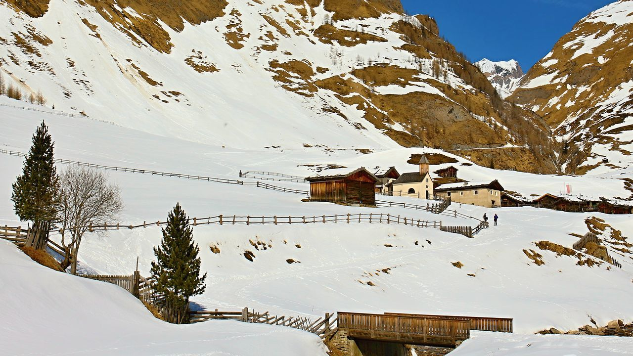 Malga Fane _ Beauty In Nature Cold Temperature House Landscape Landscapes With WhiteWall Mountain Nature Scenics Sky Snow Tranquility Tree Winter