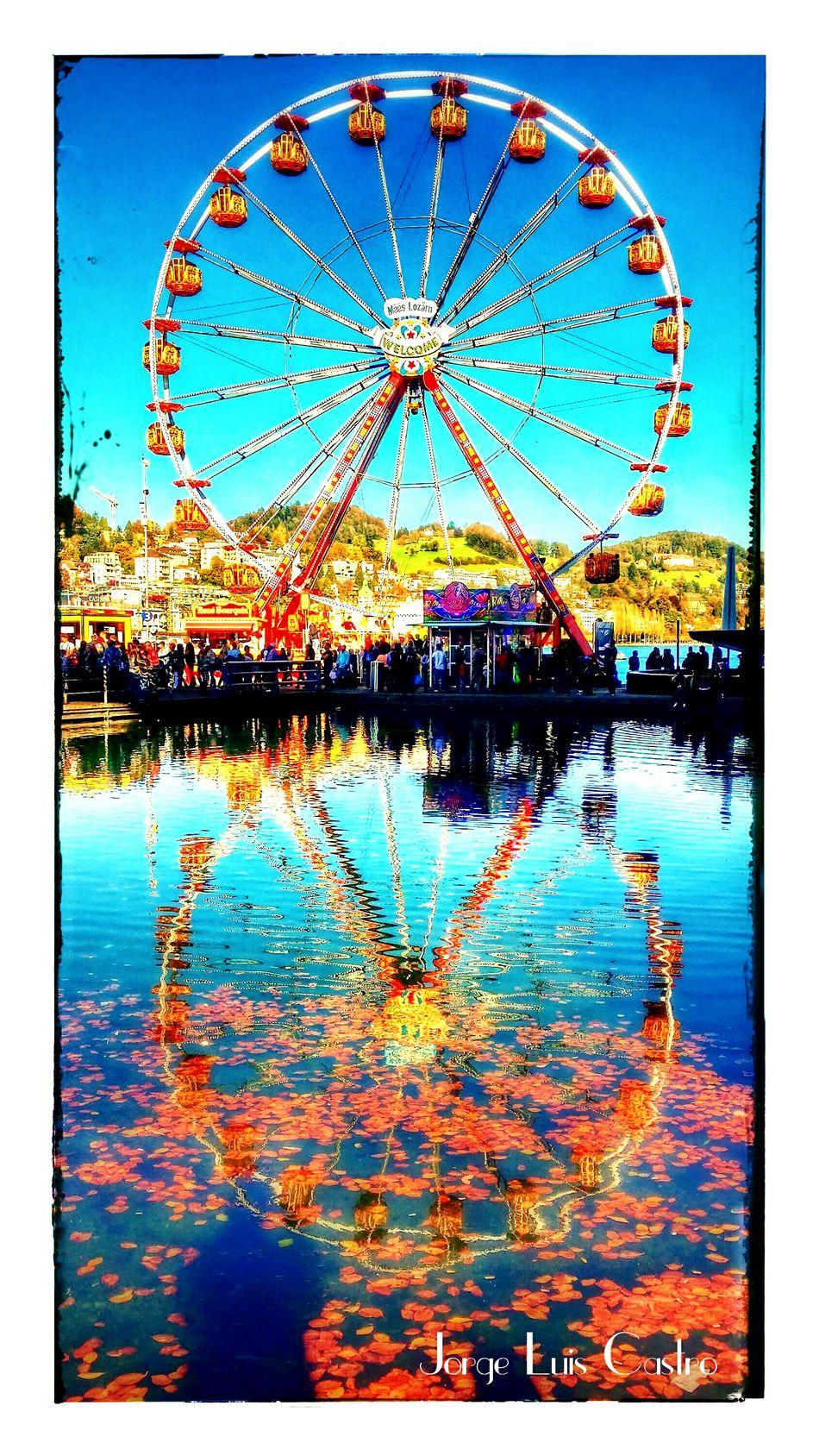 Wheel Of Life Feria Colors Enjoy Water Reflection Kkl Swiss Luzern Lake Luzerne