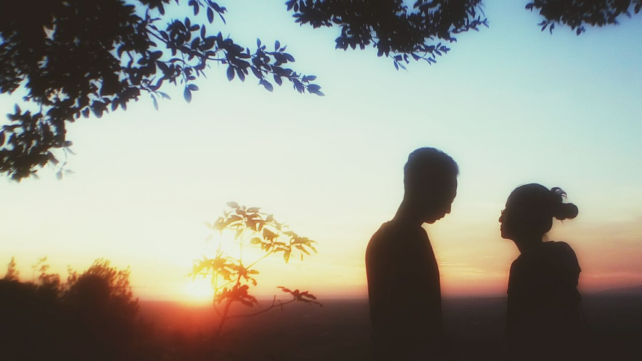 My Year My View we don't talk anymore Two People Sunset Mid Adult Tree Togetherness Men Silhouette People Happiness Sky Bonding Women Outdoors Young Women Young Adult Only Men Nature Breaktime First Eyeem Photo