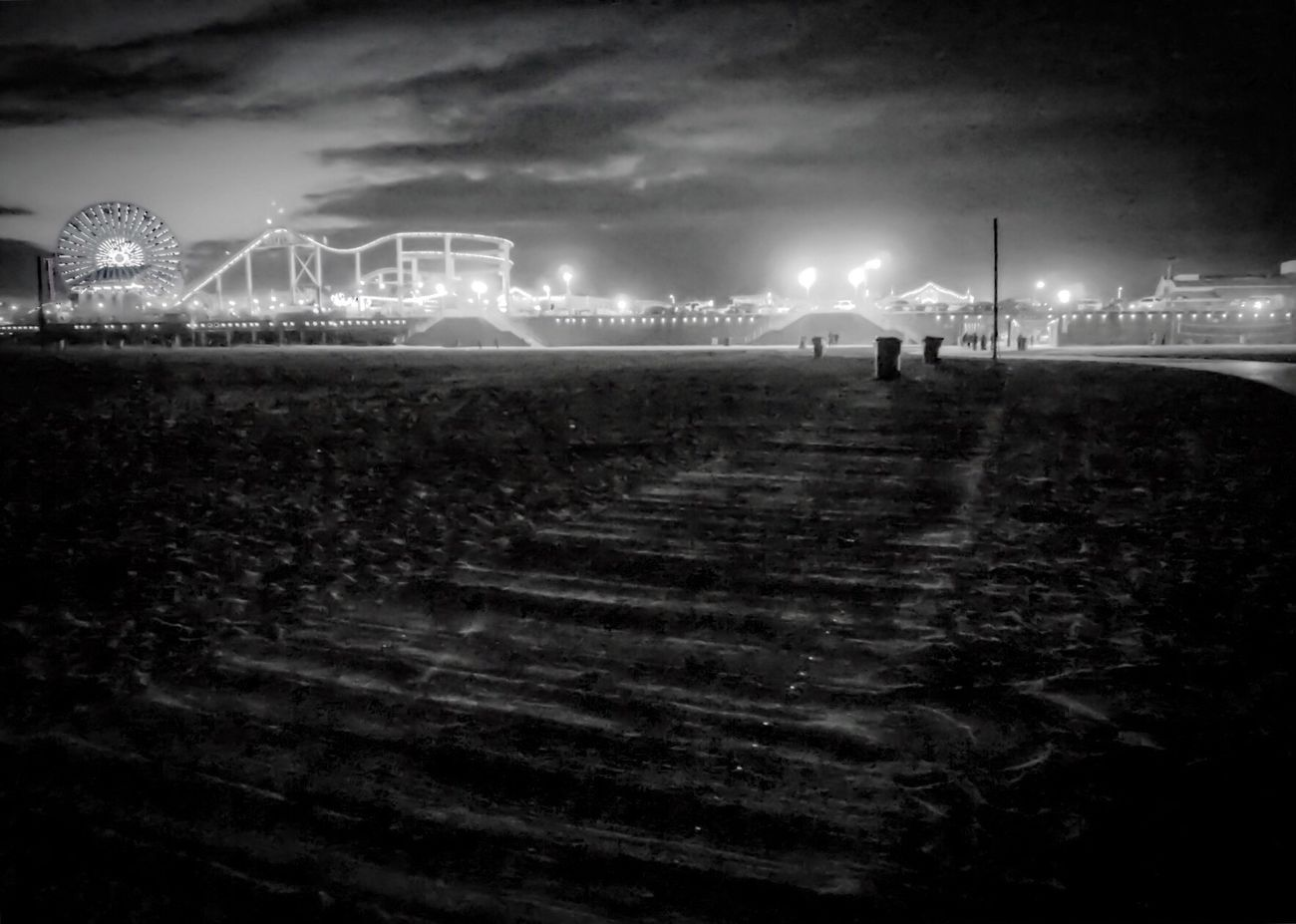 Sky Night Outdoors Cloud - Sky Santa Monica Pier Life Is A Beach Nature Beach Days Dusk Relaxing California Dreaming Eyeemphotography EyeEm Gallery To Live And Die In LA California Love Santa Monica Enjoying Life Light And Shadow Illuminated Black & White Black And White SundayFunday Bnw Black And White Photography EyeEm Bnw