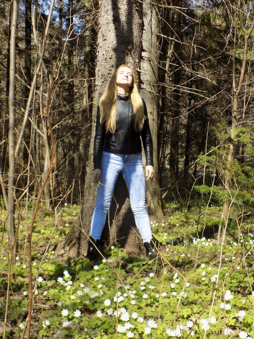 looking at camera, one person, forest, front view, portrait, tree, casual clothing, full length, outdoors, bare tree, young adult, tree trunk, day, beautiful woman, young women, nature, one young woman only, one woman only, grass, adults only, adult, people