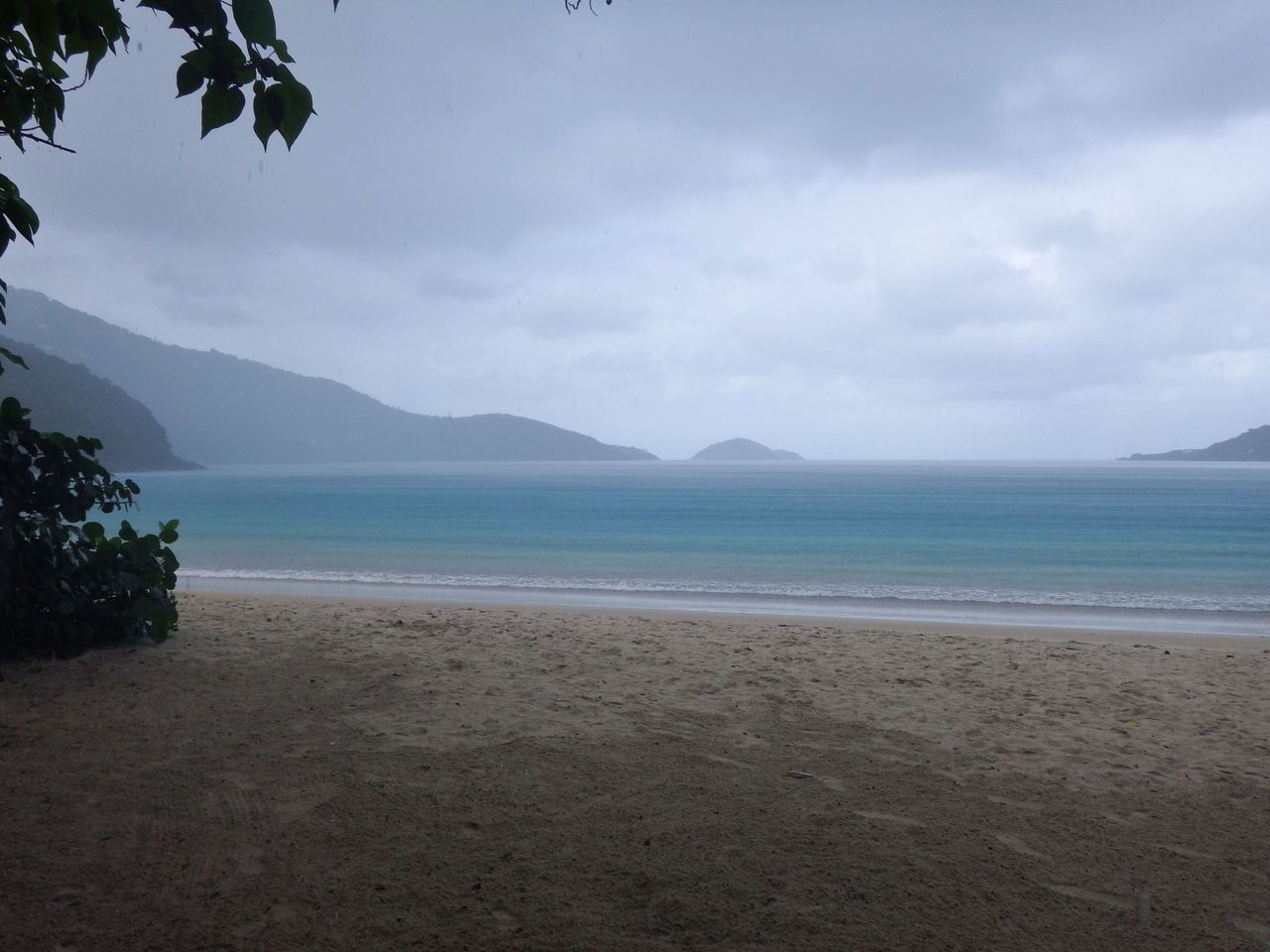 Sea Sky Nature Beach Landscape Water Vegetation Mountain No People Outdoors Day St Thomas Margens Bay Iphone6 Rainy Day Rain In Paradise