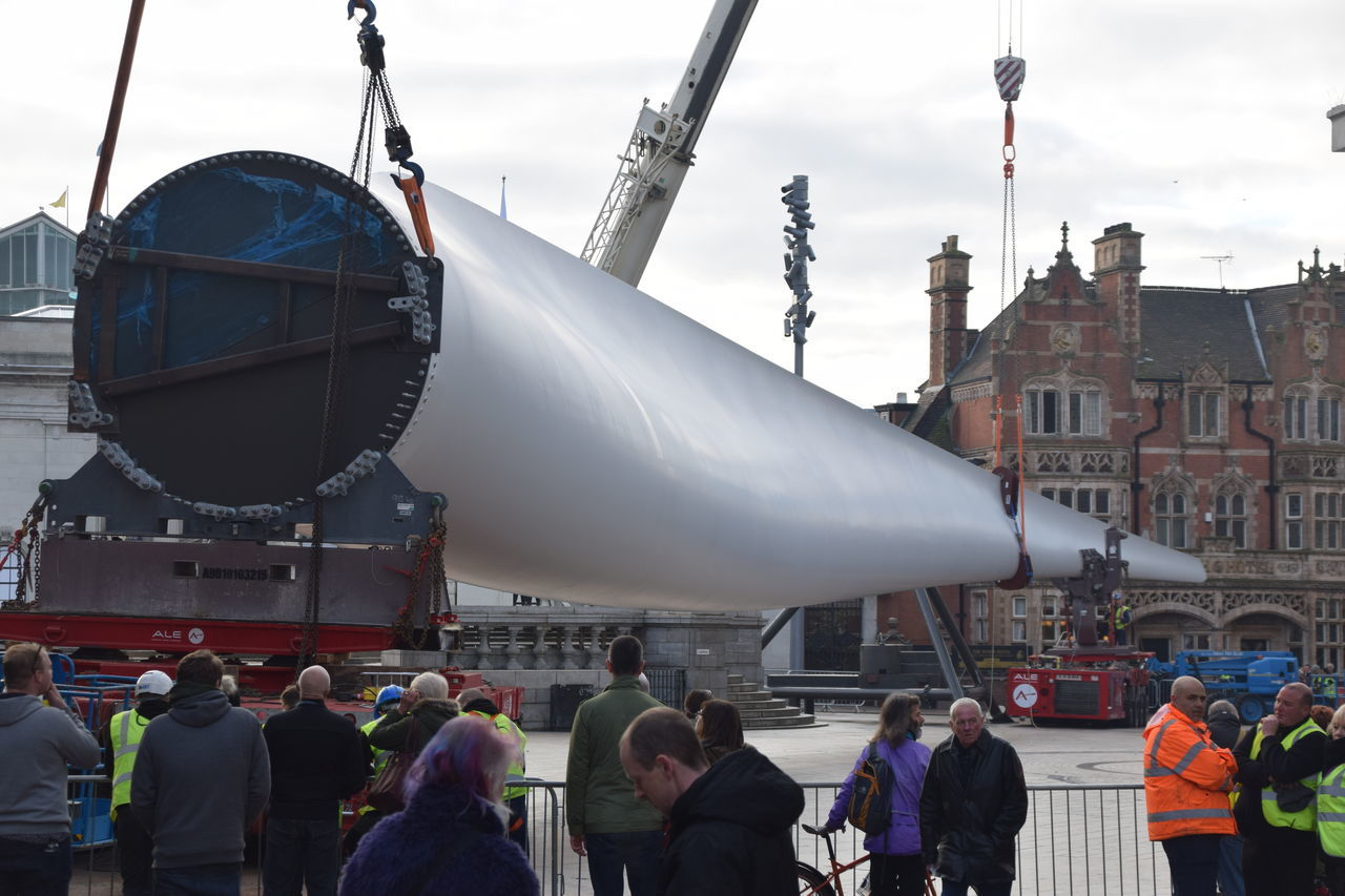 Siemens wind turbine blade is lifted into position in Hull's Queen Victoria Square (08/01/2017) during Hull 2017 City Of Culture Adult Adults Only Blade City Day Hull Hull 2017 Hull City Of Culture 2017 Hull2017 Outdoors People Siemens  Turbine Wind Turbine Working