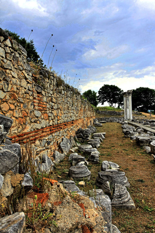 Visiting the Philippi archaeological site, Northern Greece Ancient Archaeology Cloud - Sky Day Excavation History Landscape No People Old Outdoors Past Ruins Sky Stone Material Stone Wall 43 Golden Moments Fine Art Photography UNESCO World Heritage Site Showcase July