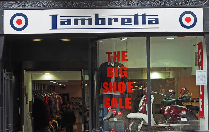 Night Real People Store Outdoors Illuminated Text Communication Scooters Shoe Shop Lambretta Shop RAF Insignia Shoes Sale