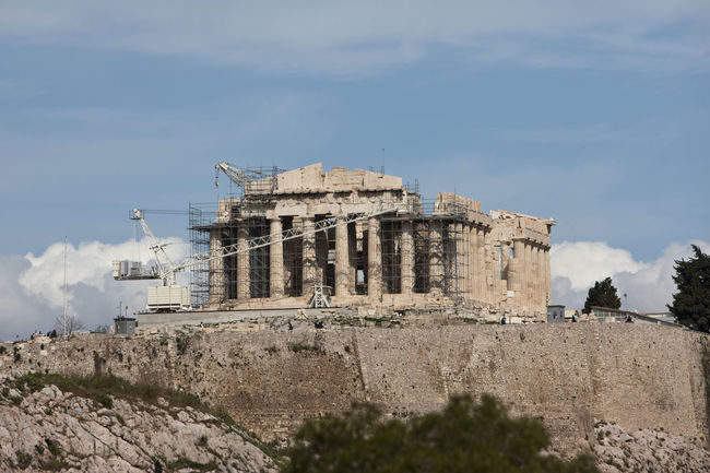 Parthenon restoration, Athens, Greece Acropolis Athena Athens Bulding Columns Doric Order Exterior Façade Greece Marble Minerva Parthenon Restoration Restoration In Progress Rock Temple