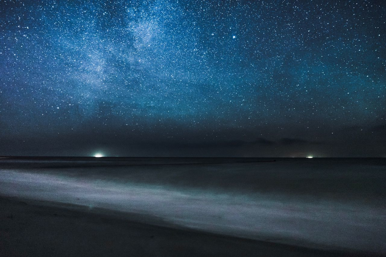 Stars over the sea. Beauty In Nature Outdoors Ostsee Baltic Sea Sea Sea And Sky Water Waves Stars Clear Sky Ships Adventure Nightsky Night Dark Long Exposure Stary Sky Nowhere Lights In The Water
