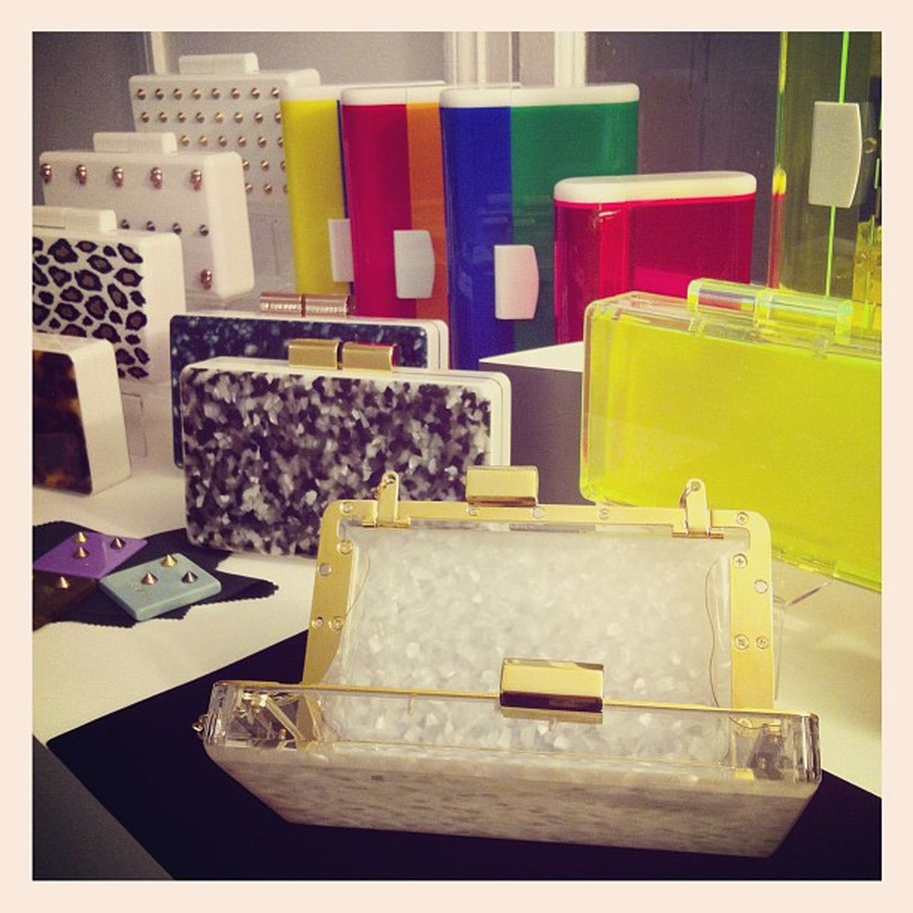 Uraniagazelli Lucite Perspex Plexiglass clear neon fluo bags clutches minaudière minaudiere presenting at valerydemure paris showroom ss2013 pfw
