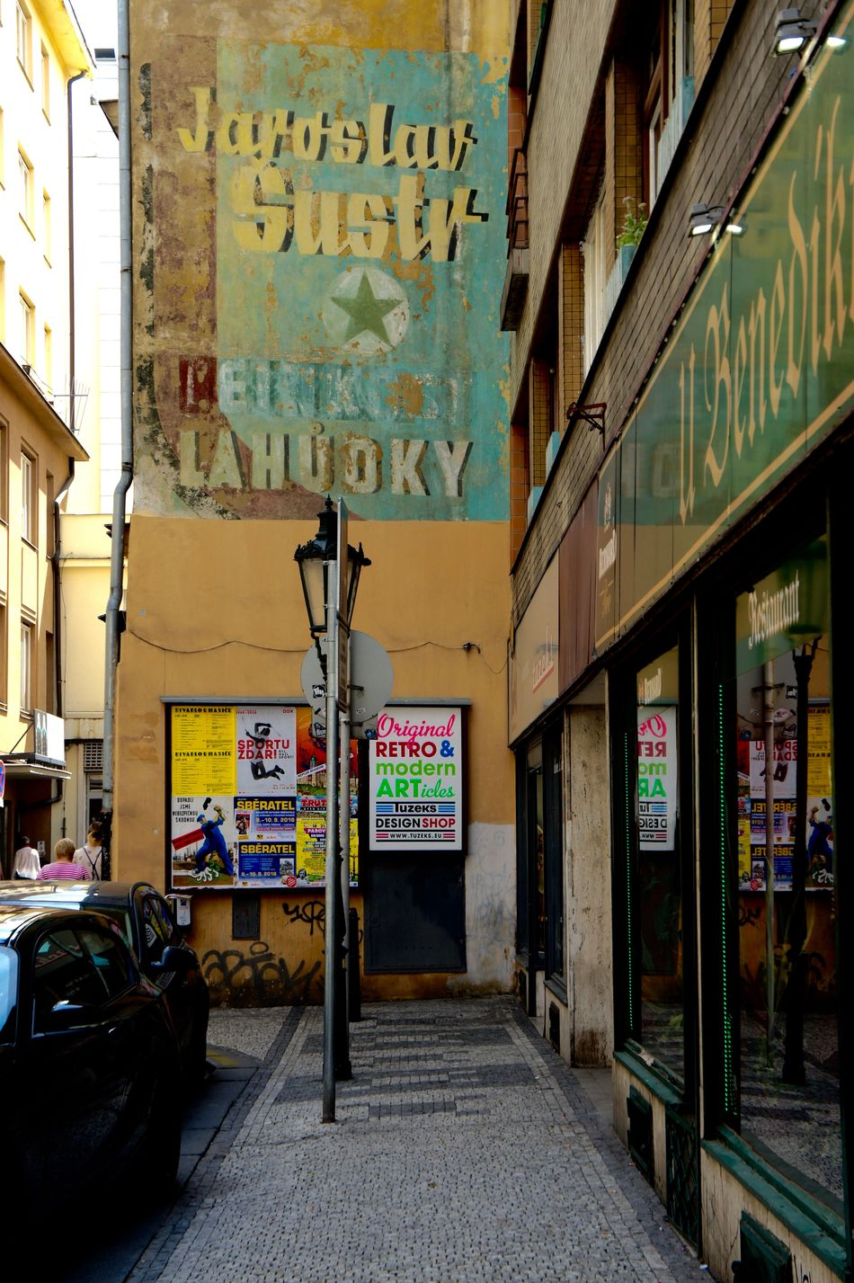 #advertisement #city Life #mural #Prague #retro #shabby Chic #street Light #streets #turquoise #urban #yellow