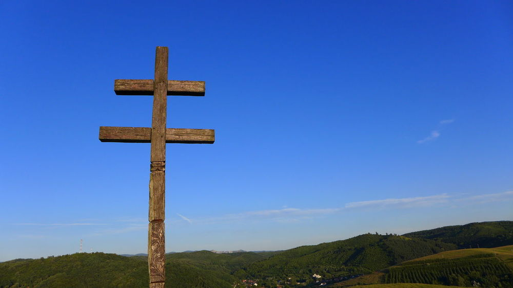 Blue Cross Cross On The Hill Double Cross Hill Iesus Nazarene Rex Iudaeorum INRI Landscape No People Outdoors Religion Sky Wooden Cross