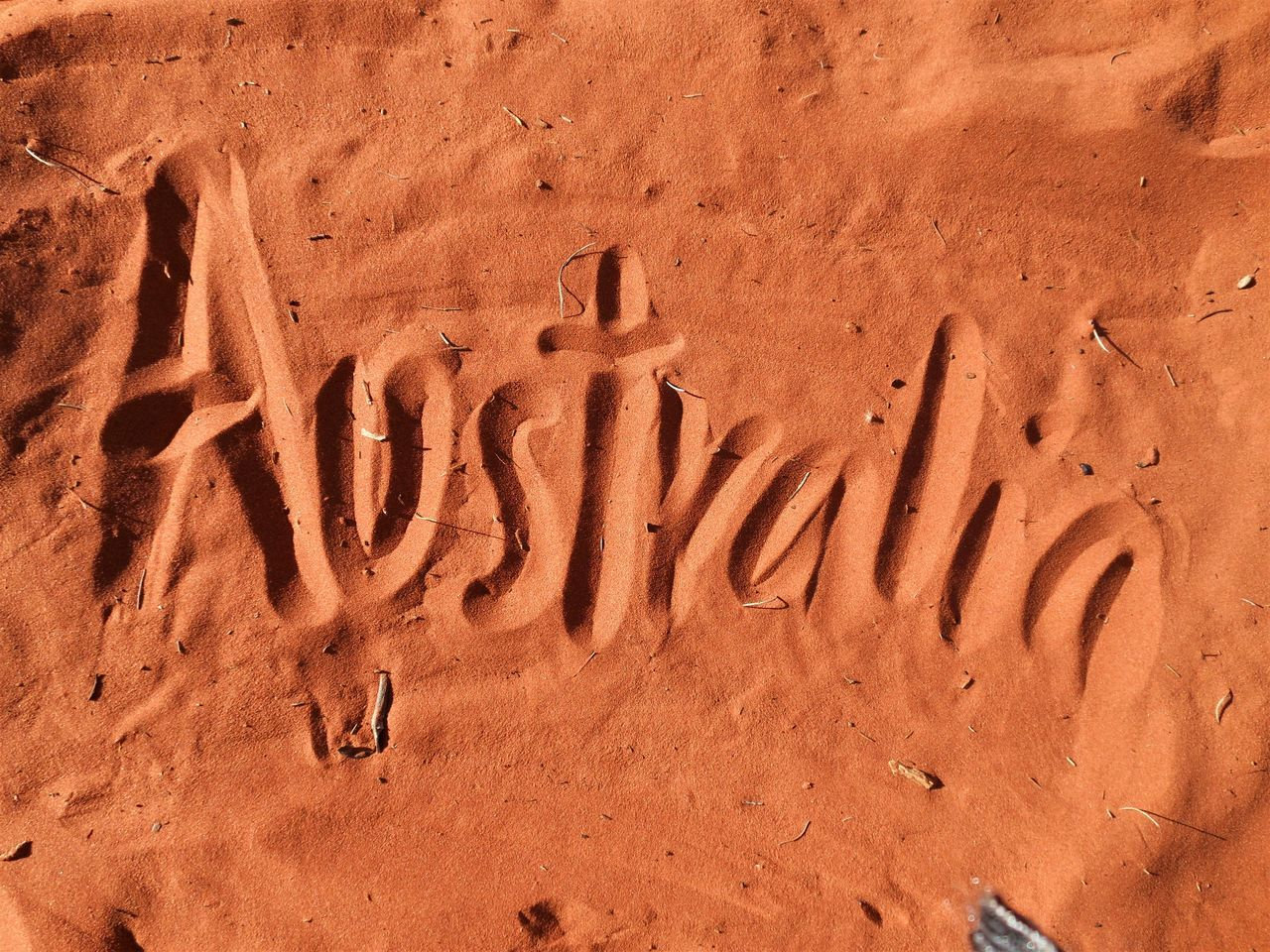 Australia written in red sand Arid Climate Australia Backgrounds Backpacking Beach Close-up Continent Desert Full Frame Hiking Imprint Nature No People Orange Outback Outdoor Outdoors Red Red Sand Sand Sand Dune Track - Imprint Travel Travel Destinations Travelling
