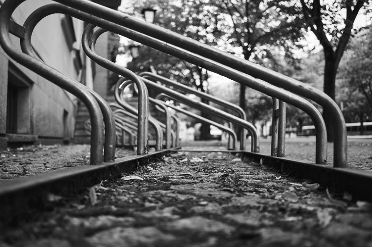 Bike Life Bike Rack Diminishing Perspective Long Metal Perspective The Way Forward Vanishing Point