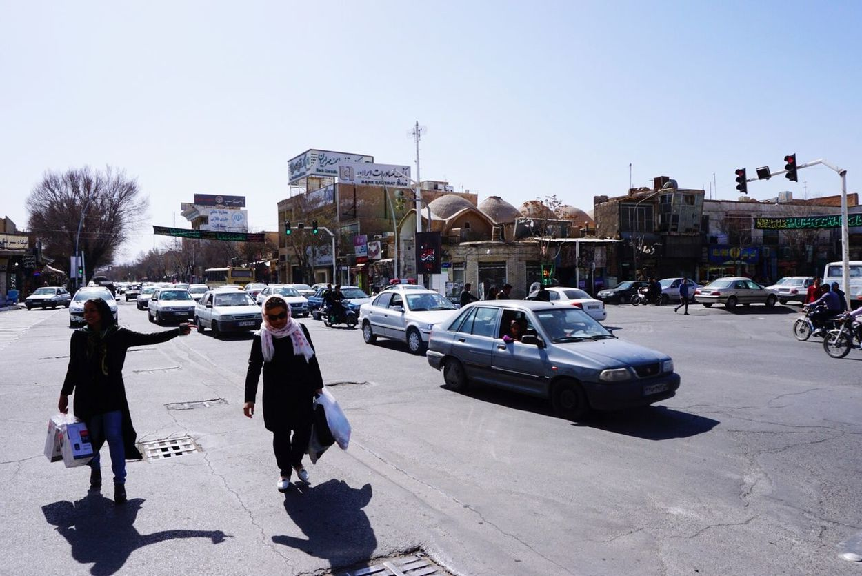 Yazd,Iran Clear Sky City Sunlight Iran Street Photography Streetphotography Travel Intersection Wemen Cars Shadow