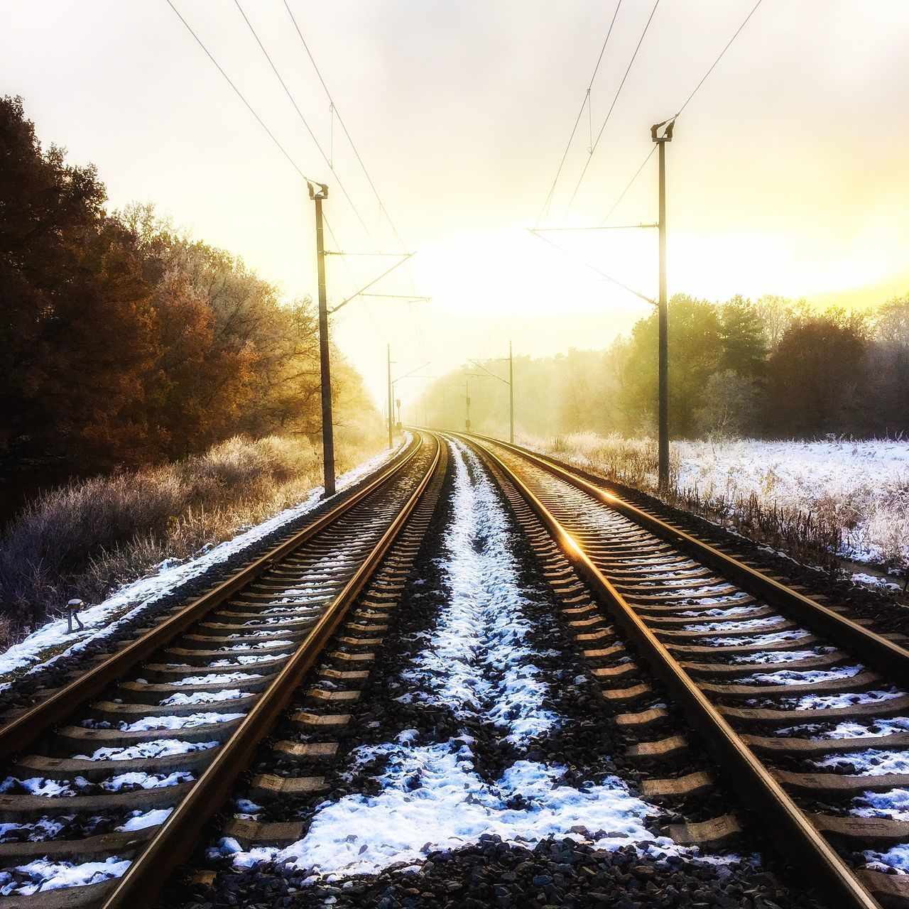 railroad track, winter, cold temperature, snow, rail transportation, transportation, weather, cable, diminishing perspective, nature, no people, the way forward, power line, tree, sunset, electricity pylon, sky, outdoors, electricity, day, beauty in nature