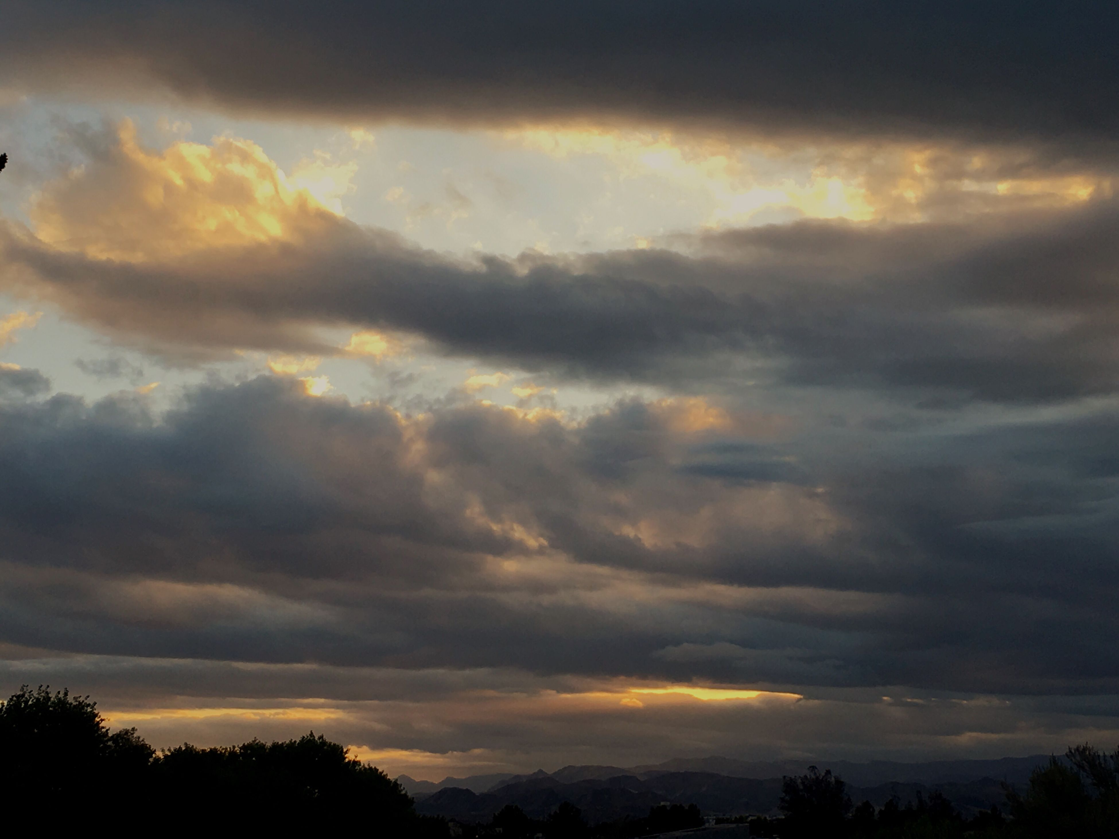 sunset, silhouette, sky, scenics, beauty in nature, cloud - sky, tranquility, tranquil scene, low angle view, tree, nature, cloudy, dramatic sky, idyllic, cloud, orange color, weather, cloudscape, atmospheric mood, outdoors