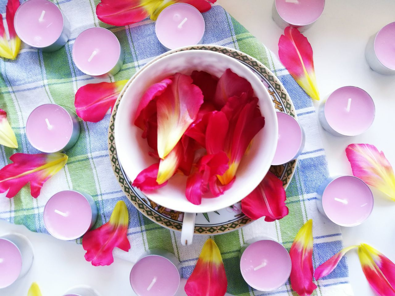 Pink Color Red Celebration Plate No People Flower Indoors  Petals🌸 Floral Crocery Morning Tea Cup Composition Candles.❤ Millennial Pink Millennial Pink Millennial Pink