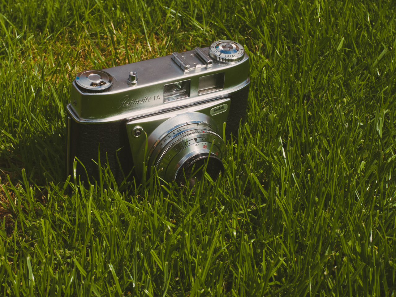 grass, green color, technology, no people, camera - photographic equipment, field, growth, outdoors, photography themes, close-up, day, camera flash