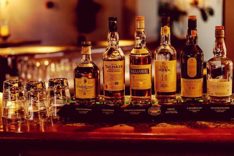 Horizontal No People Illuminated Indoors  Whisky Singlemalt Scotch Dalwhinnie Dalwhinnie15 Talisker Talisker10 Cragganmore Oban14 Oban Lagavulin16 Lagavulin Glenkinchie Glasses Bar Hotel at Margretetorp Ängelholm Sweden