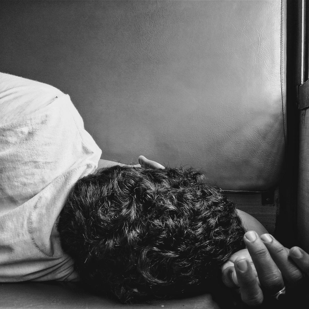 Indoors  Human Body Part Human Hand One Person People Real People Adults Only Domestic Room Adult Close-up Only Women Day India Blackandwhite Bnw Monochrome One Man Only Sleeping Human Back Headshot Travel TheWeek On EyEem Adult