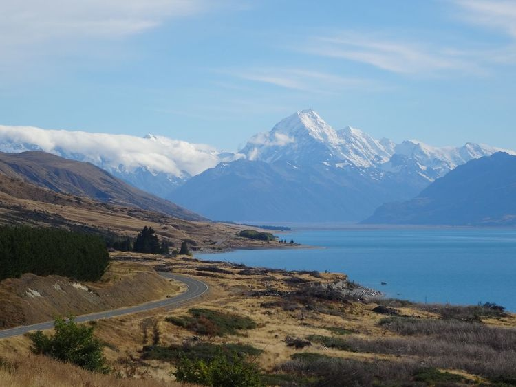 Mountain Beauty In Nature Scenics Mountain Range Nature Sky Tranquil Scene Landscape Tranquility Day Outdoors Water No People Snow Street Cruise Mountain View Mount Cook New Zealand Lake