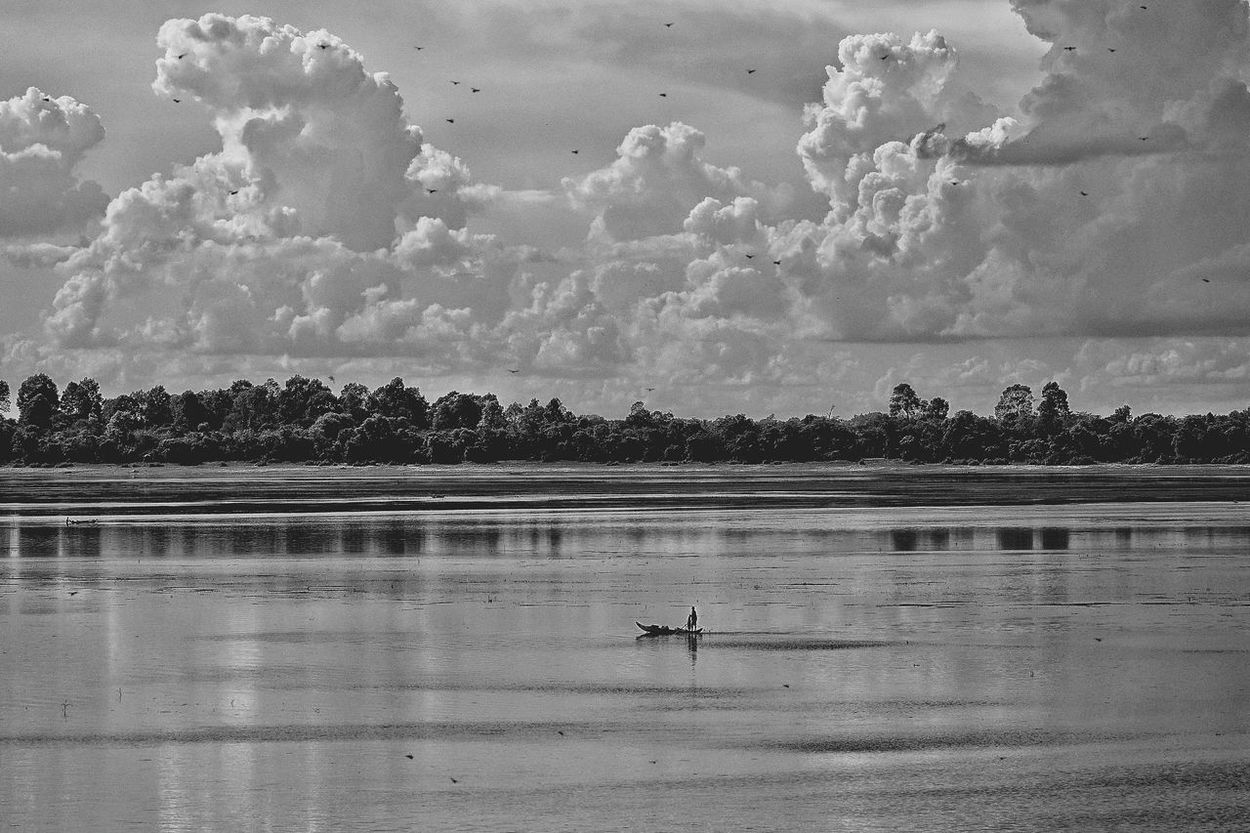 Cambodia Photos Lake Landscape Lakescape Boat Travel Landscape_Collection Clouds And Sky Cloudpark Lake View Blackandwhite Black And White Bnw_life Bnw Fisherman Fishing Boat Nature Peace And Quiet Light And Shadow Taking Photos Streamzoofamily The Great Outdoors - 2017 EyeEm Awards
