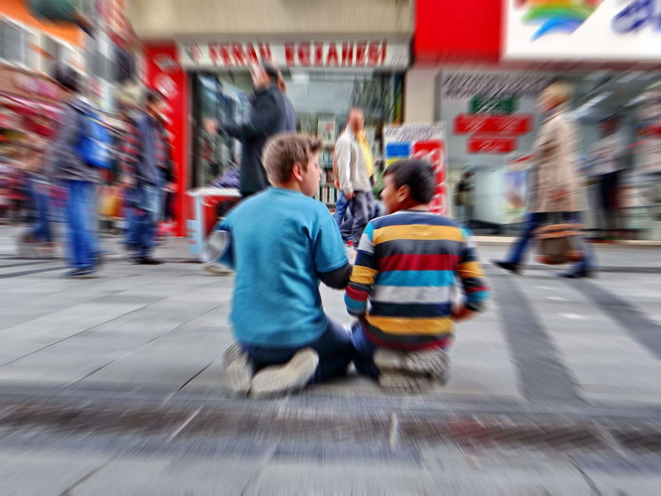 Art Is Everywhere Blurred Motion Children Photography City Lifestyles People Rear View Speed Street Musicians