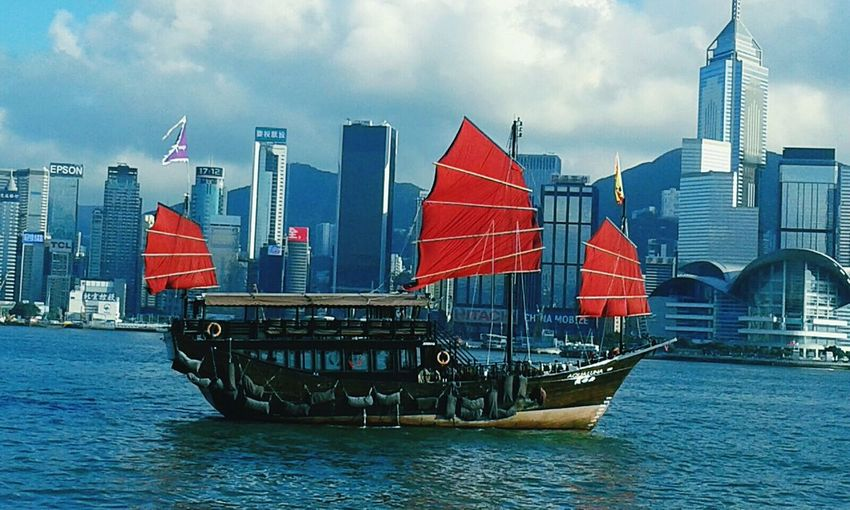 Nautical Vessel Building Exterior City Water Sailing Outdoors Travel Urban Skyline Ship Cloud - Sky Sea Cityscape Shipping  No People Day Hong Kong Architecture Hong Kong City Shipping  City Tall Ship